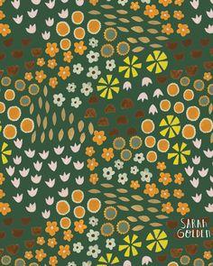 Green Meadow, gouache on paper, Sarah Golden