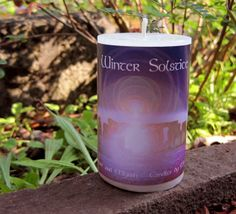 Winter Solstice Candle made with Essential Oils of Frankincense and Myrrh, White pillar candle