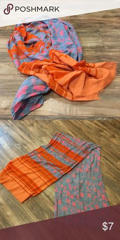 "BOGO: Buy this scarf, get 1 free SALE item This soft orange, gray, and pink cotton scarf from the Gap adds a fun pop of color to any outfit. It's unique design looks like two different scarves in one. Measures 22"" wide and 78"" long. GAP Accessories Scarves & Wraps"