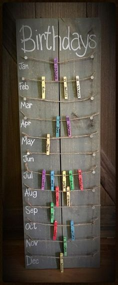 Birthday calendar board wall hanging with colored clothespins - Hand painted, NO VINYL - #Birthday #Board #Calendar #clothespins #colored #Hand #Hanging #Painted #Vinyl #Wall #walls