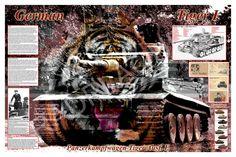 German Tiger Tank Historic Print 24 x 36 Artist by RadPlaques