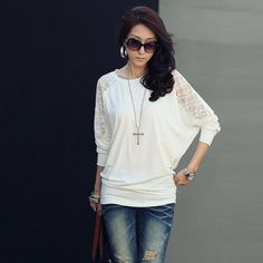 Casual Hollow Out Lace Batwing Sleeve Blouse