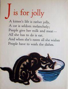 1946 ABC Alphabet Print Letter J Print Kitten Cat Print Childrens Decor 1686
