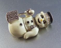Vintage Eisenberg Ice Snowman Brooch by LynnHislopJewels on Etsy