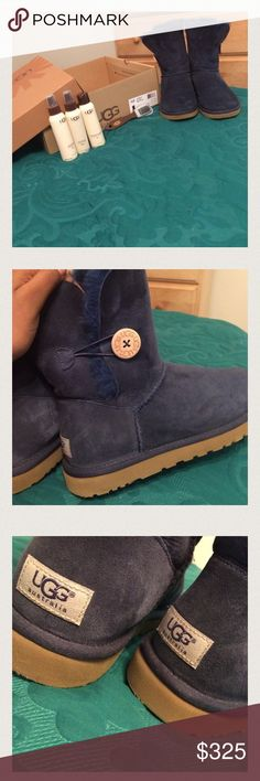 Navy blue uggs w/ care kit Navy blue baily buttons with care kit :) ship to your home today UGG Shoes Ankle Boots & Booties