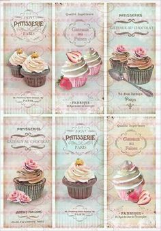 Delicious pictures for decoupage. Vintage Labels, Vintage Cards, Vintage Paper, Vintage Images, Vintage Bookmarks, Fondant Cupcake Toppers, Cupcake Art, Rose Cupcake, Cupcake Cakes