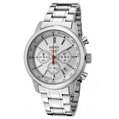 Seiko SSB035 Men's Silver Dial Stainless Steel Quartz Chronograph Watch