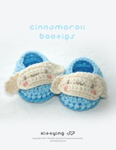 Cinnamoroll Baby Booties Crochet PATTERN Kittying Crochet Pattern by kittying.com from mulu.us   This pattern includes sizes for 0 - 12 months.