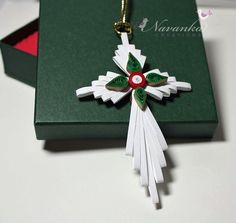 Paper Quilling Cross Christmas Ornament in a gift box. By Navanka Creations on Etsy.