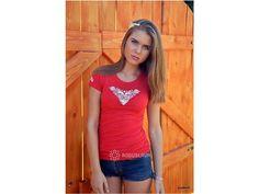 Bavlněné   tričko s výšivkou strojového šití  Ověř si velikost v    tabulce velikostí