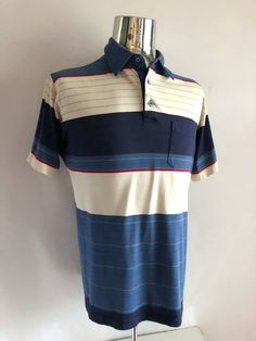 Vintage Men's 80's Striped, Polo Shirt, Short Sleeve by Knightsbridge (XL) by Freshandswanky on Etsy