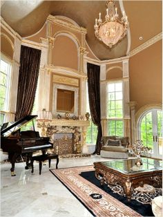 Melissa Gorga is an aspiring singer, so the grand piano seems like an appropriate touch. Formal Living Rooms, Home Living Room, Beautiful Interiors, Beautiful Homes, Grand Piano, Luxury Decor, Celebrity Houses, Home Photo, Luxury Living