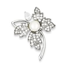 925-Sterling Silver Imitation Pearl and CZ Pin By UsGems - http://fashion.designerjewelrygalleria.com/brooches-pins/pearl-brooches-pins/925-sterling-silver-imitation-pearl-and-cz-pin-by-usgems/