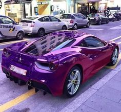 The Ferrari 488 GTB was unveiled at the 2015 Geneva Motor show and is currently in production. The car is an update for the Ferrari 458 with the 488 sharing some of the design an components. The Purple, All Things Purple, Purple Rain, Shades Of Purple, Purple Stuff, Maserati, Bugatti, Bmw, Audi
