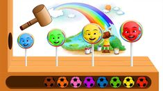 Learn Colors With Ipin Lollipop Candy WOODEN FACE HAMMER FUNNY UPIN IPIN...