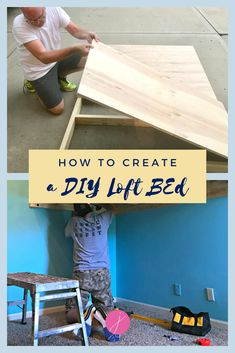 DIY Rustic Loft Bed for Kids | Jennifer Allwood Home | Design and build a space saving loft bed with plywood and wood for a unique and fun kids room! #loftbed #kidsroom #DIY Cool Art Projects, Diy Projects For Kids, Home Projects, Small House Decorating, Decorating Tips, Build A Loft Bed, Build A Frame, Rustic Loft, Kidsroom