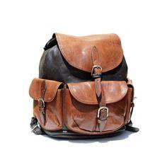 Black & Brown Leather Weekend Travel Backpack Bag by TanakaVintage, $172.00