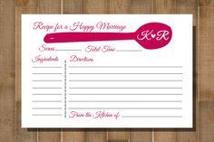 PRINTABLE Recipe Card -- Bridal Shower, Bachelorette Party -- CUSTOM