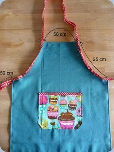 Patron couture tablier x s 18 mois 2 3 ans enfants for Patron tablier cuisine enfant