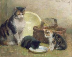Cat and Kittens by Walter Frederick Osborne