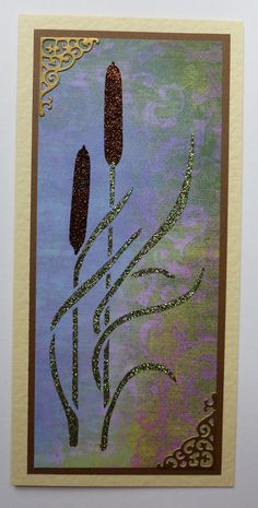 'Bulrushes in the mist' card. Imagination Craft's - Byron Vintage patterned panel card. Bulrushes panel stencil. Gold satin card. Golden pine & Antique bronze Aparkle |Mediums. Metal spatula. Tattered Lace corner die. May 2014.