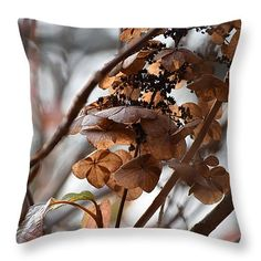 """Abstracted Autumn Hydrangeas II Throw Pillow by Rowena Throckmorton. These 100% cotton fabric throw pillows add a stylish statement to any room. Pillows are available in sizes from 14"""" x 14"""" up to 26"""" x 26""""."""