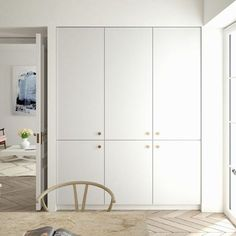 Helsingö: quality kitchens and wardrobes with IKEA cabinets frames. INGARÖ kitchen in Natural White and PARASOL brass handles. Bedroom Cupboards, Ikea Cabinets, Hacks Ikea, Wardrobe Handles, Wardrobe Cabinets, Best Ikea, Ikea Kitchen, Brass Kitchen, Kitchen White