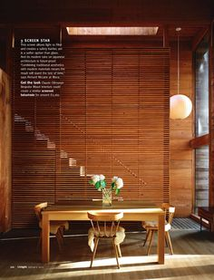 Nice full height horizontal screen that doubles as stair safety. #screen # wood #horizontal