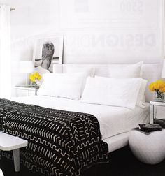 Suzie: White bedroom with a pop of black and yellow  Modern, minimal stark white bedding, white ...