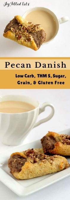 Pecan Danish - Low Carb, Grain Gluten Sugar-Free, THM S - Pecan Danish have a golden pastry filled with a homemade sweet pecan butter and topped with crunchy pecans. They are perfect for breakfast with a cup of coffee while you get ready to start your day.