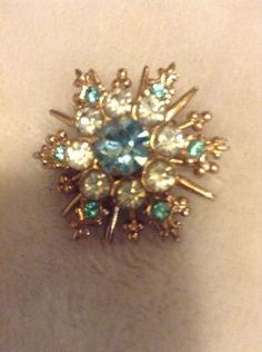 Vintage Gold Colored Pin With Green Blue And Clear Stones #426