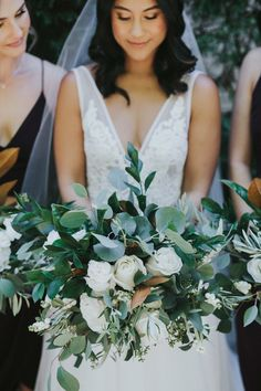 Fall Wedding-Black Bridesmaid Dresses Paired with Green and White Bouquets - ColorsBridesmaid Bridesmaid Bouquet White, Black Bridesmaids, Black Bridesmaid Dresses, Wedding Dresses, White Bouquets, White Wedding Cakes, Green Wedding, Fall Wedding, Wedding Black