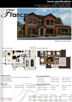 Franco house,a 2 storey model with 4 bedrooms,maid's room,4 toilet and bath,powder room,family area,balcony,3 car garage,lanai,living area,utility room,hallwayand foyer. Floor area:242 sqm. Min lot area:216sqm.  For your property presentation, Call or txt Jun parada Crown Asia property consultant 09155497717
