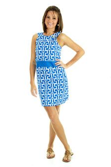 Steffi Shift Dress: $148.00  Available in Royal/White, Black/Red and Orange/White