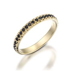 Black Diamond Ring. Black Diamond Band. Half Eternity by Juttou