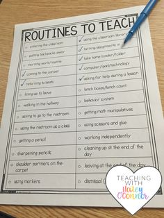 Classroom Routines Tracking Page for Teachers by Haley OConnor