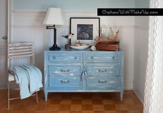"Beachy-blue dresser painted with Annie Sloan Chalk Paint in ""Louis Blue"""