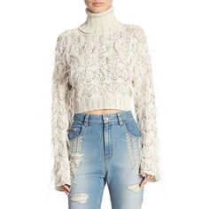 Jonathan Simkhai Sparkle Cropped Turtleneck Sweater ($895) ❤ liked on Polyvore featuring tops, sweaters, white cropped sweater, white long sleeve sweater, white turtleneck, long sleeve turtleneck and fringe sweater