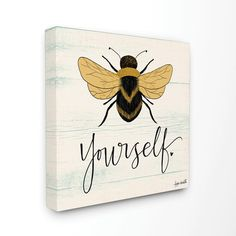 """Stupell Industries """"Bee Yourself Yellow Green Family Word Design"""" by Katie Doucette Canvas Home Wall Art 30 in. x 30 in. Canvas Home, Canvas Wall Art, Canvas Prints, Bee Stencil, Thing 1, Bee Crafts, Bee Art, Word Design, Bee Theme"""