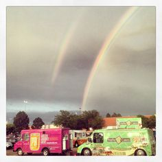 Double rainbow over Waffle Cakes food truck! #wafflecakes #wafflecakesfoodtruck #doublerainbow #nosyrup #wafflin #liegewaffletruck #waffletruck