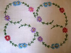 Set of Two Vintage Hand Embroidered Linen Table Runners by Finderie on Etsy, $26.00