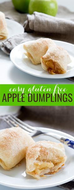 Easy gluten free apple dumplings, baked in a simple pie crust, have all the taste and aroma of apple pie without all the fuss. Celebrate apple season!