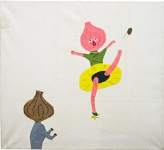 Misaki Kawai. Banana Incident, 2005. Acrylic, ink and paper on canvas.