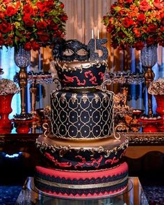 Temas modernos para fiestas de 15 en Colombia Masquerade Party Cake, Masquerade Party Decorations, Sweet 16 Masquerade, 50th Party, 40th Birthday Parties, 15th Birthday, Quince Cakes, Quinceanera Themes, Sweet 15