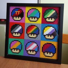 Mario mushroom perler bead art by geekofmine