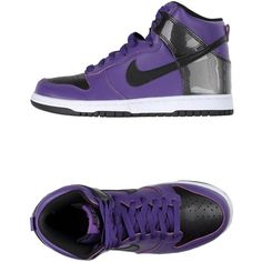 Nike Sneakers ($133) ❤ liked on Polyvore featuring shoes, sneakers, purple, purple flat shoes, nike, flat sneakers, leather sneakers and leather shoes