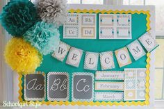 "bulletin board.   Use chalkboard for ""welcome""."
