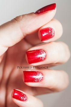 Cirque - Galinda gradient over red manicure OPI - Innie Minnie Mighty Bow christmas nail art manicure gradient