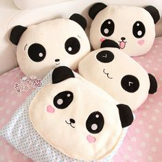 Find images and videos about cute, kawaii and panda on We Heart It - the app to get lost in what you love. Cute Pillows, Diy Pillows, Decorative Pillows, Sewing Crafts, Sewing Projects, Diy Projects, Felt Crafts, Diy And Crafts, Panda Pillow
