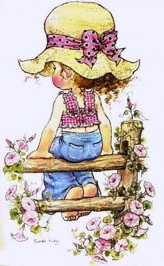 By Sarah kay Sarah Key, Holly Hobbie, Sara Key Imagenes, Decoupage, Hobby Horse, Digi Stamps, Illustrations, Vintage Cards, Vintage Children